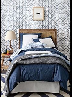 Bedroom Ideas | Bedroom Blues | Hint of Masculine Bed-set | Self adhesive vinyl temporary removable wallpaper | wall decal |