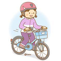 自転車に乗る女の子のイラスト(ソフト)