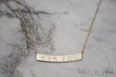 Coordinates Necklace Gold Necklace 14 karat gold by TalesInGold