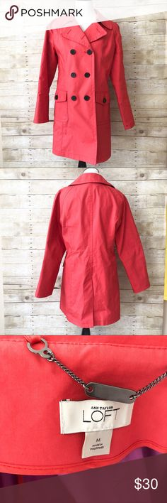 Anne Taylor LOFT Red Trench Coat Jacket sz M Classic light red trench coat by Anne Taylor LOFT in a size Medium. In excellent used condition. No rips, tears or stains! Perfect for spring! LOFT Jackets & Coats Trench Coats