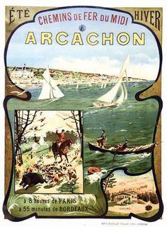 chemins de fer du midi - Arcachon - vers 1900 - illustration de Boudon -