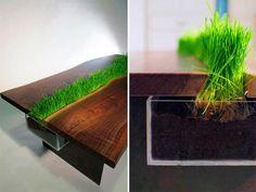 Green table sustentável de madeira nogueira
