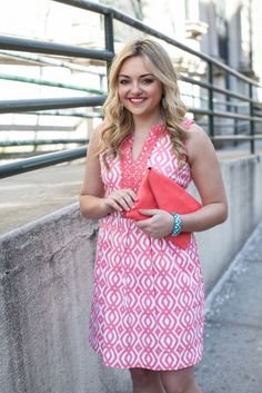 Bows and Sequins blog: coral and white dress