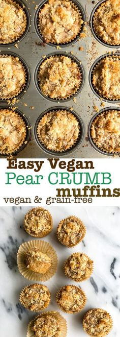 Healthy and delicious Vegan Ginger Pear Crumb Muffins. Grain free, gluten free and so simple to make. These healthy crumb muffins are a breakfast lover's dream! Plus they are low in sugar!