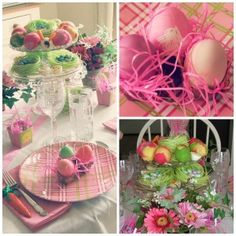 Pink and green Easter table scape. Decorating for Easter. #Easter #Decorating