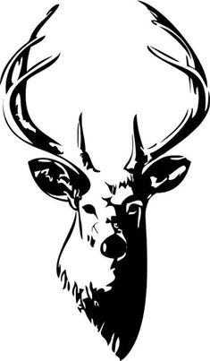 Illustration d'une silhouette de tête de cerf isolé sur