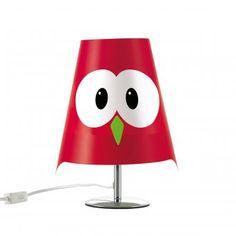 #design3000 Lucignolo – rote Tischlampe in Form eines Uhu.
