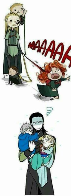 Legolas with Hawkeye, Merida, and Katniss, and Loki with Jack and Elsa. This is pretty much perfect XD Loki with jack and Elsa is adorable Marvel Dc, Marvel Fanart, Marvel Memes, Marvel Comics, Legolas, Thranduil, Disney And Dreamworks, Disney Pixar, Merida Disney