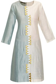 Half and half pale blue and ivory kurta available only at Pernia's Pop-Up Shop. Kurta Designs Women, Salwar Designs, Kurti Neck Designs, Dress Neck Designs, Kurti Designs Party Wear, Designs For Dresses, Blouse Designs, Embroidery On Kurtis, Kurti Embroidery Design