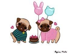 Paintings Of Pugs   Birthday Pugs by ~nekofoot on deviantART