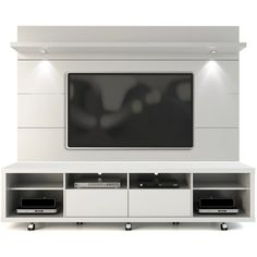Manhattan Comfort Cabrini TV Stand and Floating Wall TV Panel with LED Lights in White Gloss-Minimal & Modern Tv Stand And Panel, Tv Panel, Tv Cabinet Design, Tv Wall Design, Floating Entertainment Unit, Entertainment Centers, Manhattan, Tv In Bedroom, Bed Room