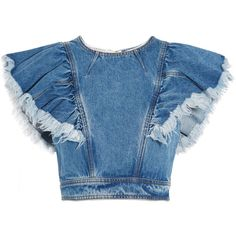 Philosophy di Lorenzo Serafini Cropped ruffled denim top (775 DKK) ❤ liked on Polyvore featuring tops, crop top, blouses, shirts, mid denim, blue shirt, shirt crop top, cropped denim shirt, blue denim shirt and ruffle top