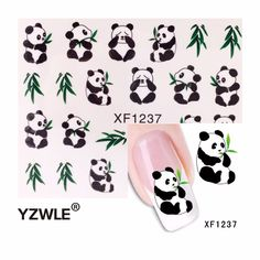 YZWLE 1 Sheet New Design 3D Water Transfer Printing Nail Art Sticker Decals Cute Panda DIY Nail Decoration Styling Tools #Affiliate