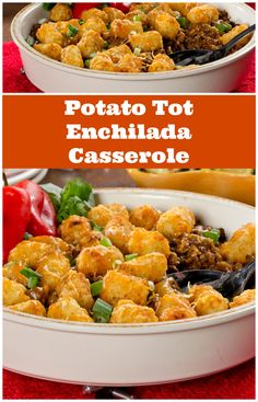 This easy dinner casserole uses easy ingredients like taco seasoning, ground beef, and frozen tater tots. We gave a family-favorite recipe a modern-day makeover with this recipe for Potato Tot Enchilada Casserole.