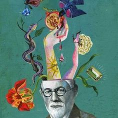 Olaf Hajek is a Germanbased illustrator painter artist graphic designer and author Hajek uses folk culture mythology religion history and geography Art And Illustration, Portrait Illustration, Art Du Collage, Book Art, Brain Art, Psy Art, Sigmund Freud, Art Club, Art Plastique