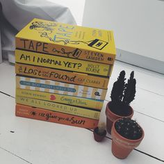 Yellow books on a gloomy day definitely cheers me up! YA young adult reads! Steven Camden, Tape. Holly Bourne, Am I Normal Yet? Cat Clarke, Lost and Found. Huntley Fitzpatrick, The Boy Most Likely Too. Emmy and Oliver. We All Looked Up. Jandy Nelson, I'll Give You The Sun.