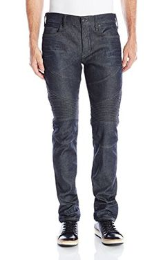 True Religion Men's Coated Stretch Rocco Relaxed Skinny Moto Jean, Stormy Night, 30 ❤ True Religion Men's Collections