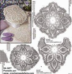 Crochet toilet set with graphic Crochet Doily Diagram, Crochet Stitches Patterns, Lace Patterns, Thread Crochet, Filet Crochet, Crochet Motif, Crochet Designs, Crochet Doilies, Crochet Home