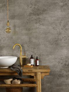 Trendy vinyl på baderomsveggen - Byggmakker+ Bauhaus, Home Interior Design, Concrete, Ikea, Decor, Flower, Bathrooms, Material, House Ideas