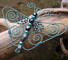 spiral wire and bead butterfly