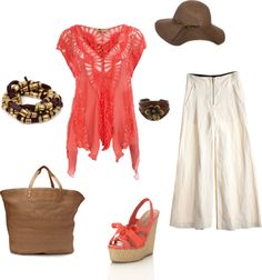 """Wide Leg Linen Pant outfit for Cruise or Market day"" by beth-parrish on Polyvore"