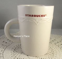 Starbucks Coffee Mug Cup 10 oz Embossed Cream On Cream With Red Lettering 2010 #Starbucks