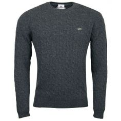 #Lacoste Grey Wool Cable Knit Sweater