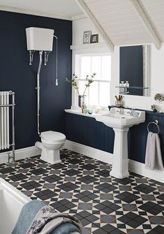 Premier Carlton Traditional Bathroom Suite - Basin at Victorian Plumbing UK Dark Blue Bathrooms, Dream Bathrooms, Bathroom Colors, Small Bathroom, Blue Bathroom Tiles, Glass Bathroom, Bathroom Shelves, Bathroom Cabinets, Bathroom Vanities