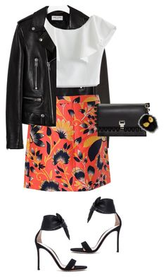 """""""Floral/leather"""" by lisamichele-cdxci ❤ liked on Polyvore featuring Yves Saint Laurent, Gianvito Rossi, Chicwish, J.Crew and Proenza Schouler"""