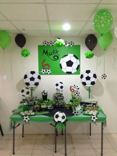 Soccer ball theme for birthday party Soccer ball theme for birthday party Football Party Decorations, Soccer Birthday Parties, Soccer Party, Birthday Decorations, Birthday Party Themes, Soccer Ball, Soccer Baby Showers, Baby Shower Cakes For Boys, Birthday Template