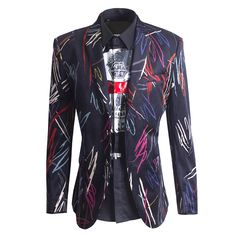 X-FREE Men's Street Style Trend And Muticolor Lines Blazer Black