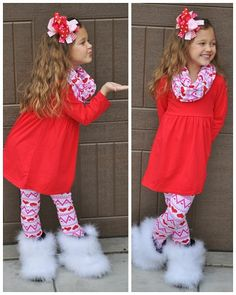3 PC Red Pink Heart Aztec Infinity Scarf Boutique Outfit ( 1-8 years)