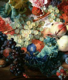 Jan van Huysum. Detail from Fruit and Flowers, 1722