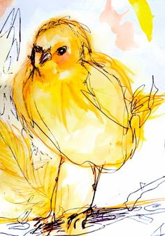 Love the saturated color and rough sketch of this bird!