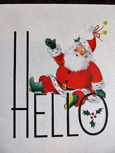 Vintage Christmas Card UNUSED CRISP BRIGHT & BOLD Santa Waving HELLO
