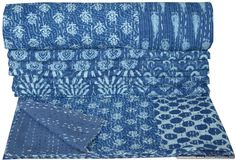 BLUE PATCHWORK INDIAN KANTHA QUILT COTTON TWIN BEDSPREAD THROW Decorative Ethnic