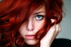 Beautiful red hair look!  Try this if you have this skin tone with blue eyes - YES!