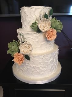 Rustic Buttercream Wedding Cake with Sugar Succulents and Roses