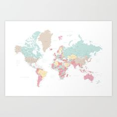 Pastel world map with cities - SIZES LARGE & XL ONLY Art Print