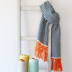 Nautical knitted stripe scarf by Gabrielle Vary Knitwear