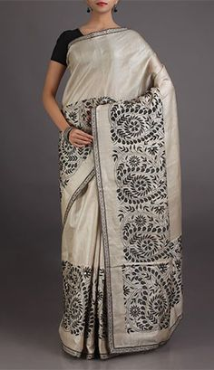 Rupal Pristine Beige With Black Embroidery Charming Chikankari Saree