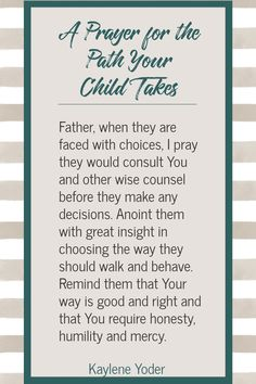 A Prayer for the Path Your Child Takes
