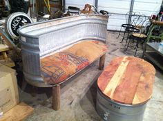 Rustic Trough Sofa with burlap cushions barn, farm, country look on Etsy, $325.00