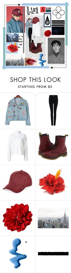 """""""Suho // Lucky One"""" by chensation7 ❤ liked on Polyvore featuring Oris, Chicnova Fashion, Pink Tartan, The Elder Statesman, Dr. Martens, River Island, Topshop, outfit, EXO and exok"""