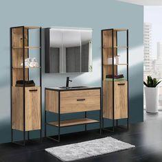 Badezimmer Set In Industrie Design Manhattan 56 4 Teilig Gold Craft Oak Eiche B H T 135 185 46cm In 2020 Badezimmer Set Design Haus Deko