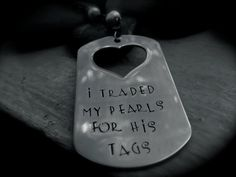 Tags and Pearls Pendant, Military inspired dog tag with heart cut out, Ready to ship