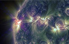 A huge X1.2-class solar flare erupted from the sun late Tuesday (May 14, 2013), the fourth major flare in two days from a busy sunspot on the surface of the sun. NASA's Solar Dynamic Observatory captured this view of the event.