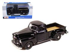 1950 Chevrolet 3100 Pickup Truck Black 1/25 Diecast Model by Maisto - Brand new 1:25 scale diecast car model of 1950 Chevrolet 3100 Pickup die cast car by Maisto. Brand new box. Rubber tires. Has opening doors and rear gate. Made of diecast with some plastic parts. Detailed interior, exterior, engine compartment. Dimensions approximately L-8,W-3,H-2.5 inches. Please note that manufacturer may change packing box at anytime. Product will stay exactly the same.-Weight: 2. Height: 6. Width: 11…