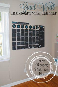 Giant (Chalkboard Vinyl) Wall Calendar: Free Silhouette Studio Cut File (and Best Chalk Marker!)