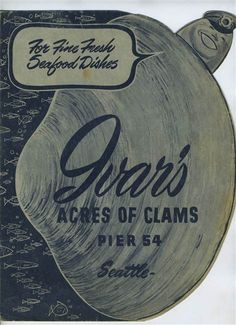 Ivar's Acres of Clams Menu Pier 54 Seattle Washington 1960's